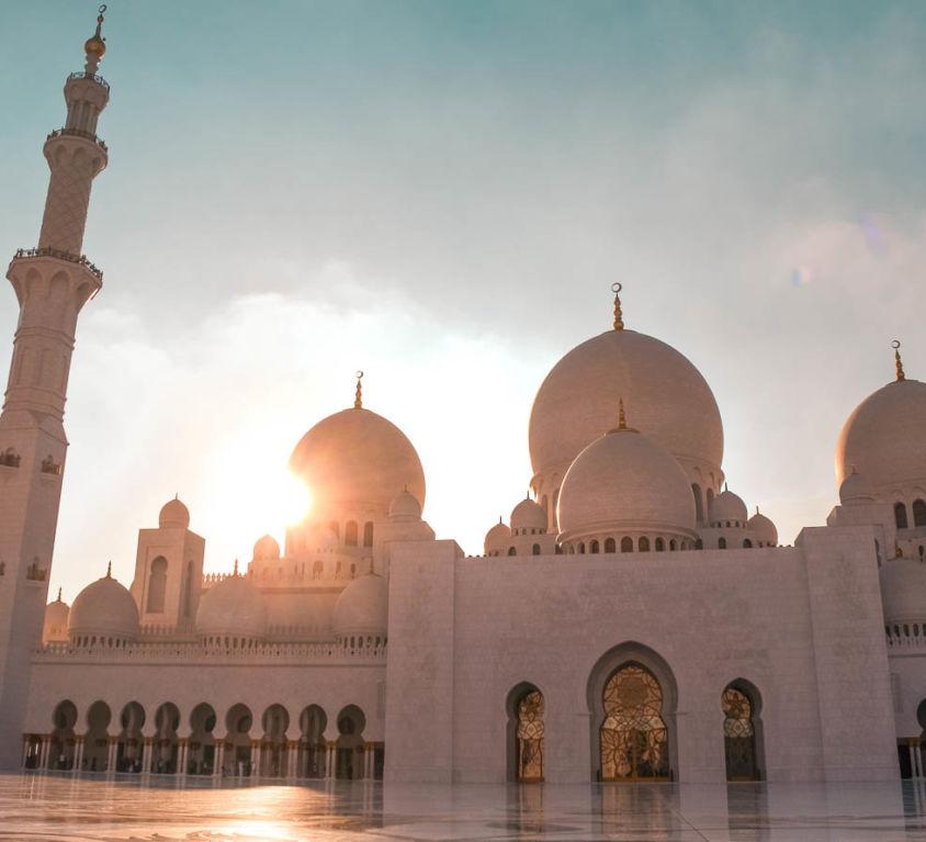 Abu Dhabi Scheich-Zayid-Moschee Sonnenuntergang