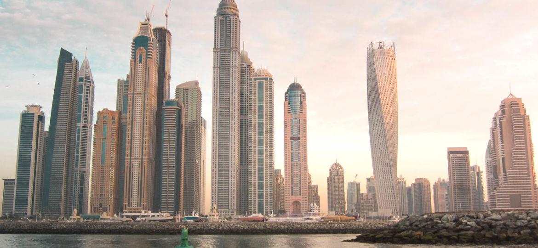 Dubai Marina Skyline Sonnenuntergang